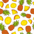 Vector seamless pattern of pineapples Royalty Free Stock Photo