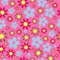 Vector Seamless Pattern Pink Blue Hippie Floral