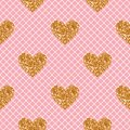 Vector seamless pattern. Pink with white fishnet tights background. Heart of gold glitter.