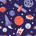 Vector seamless pattern with planets and stars ships background in vintage flat style Stock Photo