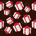Vector seamless pattern with presents boxes this is file of eps format Stock Photos