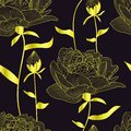 Vector seamless pattern, print with gold pions,flowers and buds,leaves. Elegant,romantic floral texture. Black background is isola