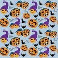 Vector seamless pattern with pumpkin and bat. Halloween pattern.