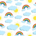Vector seamless pattern with rainbow, clouds and sun.
