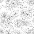 Vector seamless pattern with rose, lily, peony and chrysanthemum flowers line art on the white background. Hand drawn floral