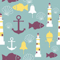 Vector seamless pattern with sea elements: lighthouses, anchors, fish, shell. Can be used for wallpapers, web page