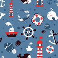 Vector seamless pattern with sea icons Stock Photo