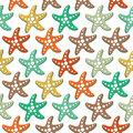 Vector seamless pattern with sea stars Royalty Free Stock Photo