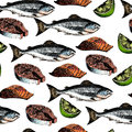 Vector seamless pattern of seafood. Salmon fish, fillet slices, steak and lime. Hand drawn engraved icons. Colored objects.