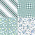 Vector seamless pattern set flowers lines dots Royalty Free Stock Photography