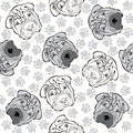 Vector seamless pattern with sharpei and traces monochrome back animal background heads shar pei Royalty Free Stock Photos
