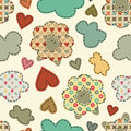 Vector seamless pattern with sheep  in a patchwork style with da
