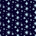 Vector seamless pattern with shining stars on a dark blue background. Cosmos theme.