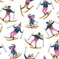 Vector seamless pattern of skiers. Sports children in the ski resort. Trendy scandinavian design.