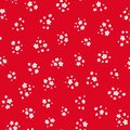 Vector seamless pattern with small pretty white flowers on red. Liberty style Royalty Free Stock Photo