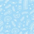 Vector seamless pattern with small stylized flowers on a blue background. Hand drawing
