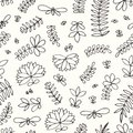 Vector seamless pattern with small stylized flowers and branches. Hand drawing.