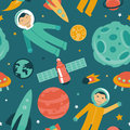 Vector seamless pattern with space and planets astronaut in Stock Photography
