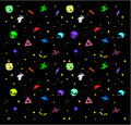 Vector seamless pattern with space ships, astronauts, planets, aliens, stars on a black background