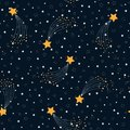 Vector seamless pattern of space with stars on starry night sky. Modern background Decorative big yellow falling star on dark blue
