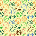 Vector seamless pattern with sport balls abstract background Stock Photo