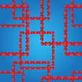 Vector seamless pattern. Squares from red balls on the blue background.