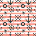 Vector seamless pattern Steering wheel, life preserver, anchor, horizontal lines Creative geometric vintage backgrounds, nautical