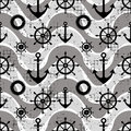Vector seamless pattern Steering wheel, life preserver, anchor, waves Creative geometric vintage backgrounds, nautical theme Graph