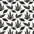 Vector seamless pattern with stylized leaves. Hand drawing
