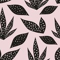 Vector seamless pattern with stylized leaves on a pink background. Hand drawing