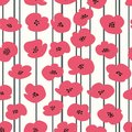 Vector seamless pattern with stylized poppies for design and decoration