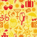 Vector seamless pattern with summer icons vacation signs and symbols Royalty Free Stock Image