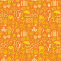 Vector seamless pattern with summer icons vacation signs and symbols Stock Photography