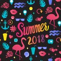 Vector seamless pattern Summer 2018 inscription with trend illustrations isolated on black background.