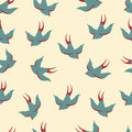 Vector seamless pattern with swallows Royalty Free Stock Photo