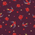 Vector seamless pattern with swallows, roses, hearts and stars