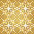 Vector seamless pattern with swirls and floral motifs in retro style golden victorian background it can be used for wallpaper Stock Photography