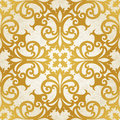 Vector seamless pattern with swirls and floral motifs in retro style golden victorian background it can be used for wallpaper Stock Image