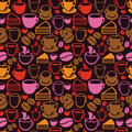 Vector seamless pattern with tea and coffee cups background in vintage style Stock Photos