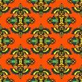 Vector seamless pattern textile damask design ethnic tribal Stock Image