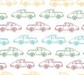 Vector seamless pattern of textured retro cars