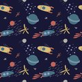 Vector seamless pattern on the theme of space
