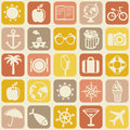 Vector seamless pattern with travel icons vacation signs and symbols Royalty Free Stock Image