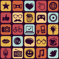 Vector seamless pattern with trendy hipster icons and pictograms Stock Photos