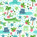Vector seamless pattern with tropical animals