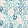 Vector seamless pattern with tropical leaves. Beautiful print with hand drawn exotic plants.