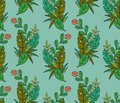 Vector seamless pattern of tropical leaves and flower