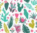 Vector seamless pattern of tropical plants, cacti, succulents, flowers.