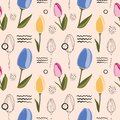 Vector seamless pattern with tulips