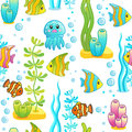 Vector seamless pattern with underwater design and funny sea creatures. Aquarium Party Surface Design with Bright fishes, red crab Royalty Free Stock Photo